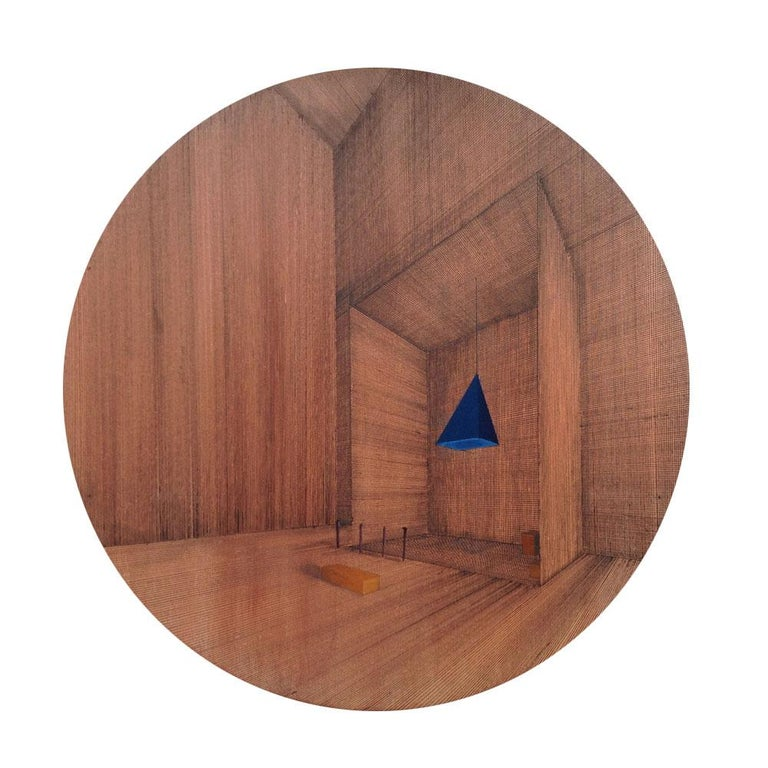 Hung, 2014, Oil, acrylic and pen on canvas on board, 13 4/5 in diameter; 35 cm diameter by Joella Wheatley  This perfectly round drawing/painting sits flat on the wall and the viewer is invited to move in close to examine the fine perspective line