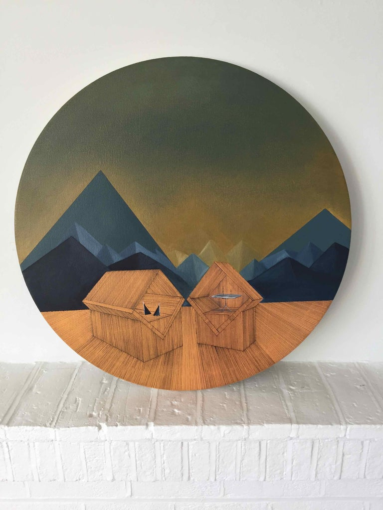 Imitation of Reality: Round Painting about Imaginary Spaces by Joella Wheatley For Sale 1