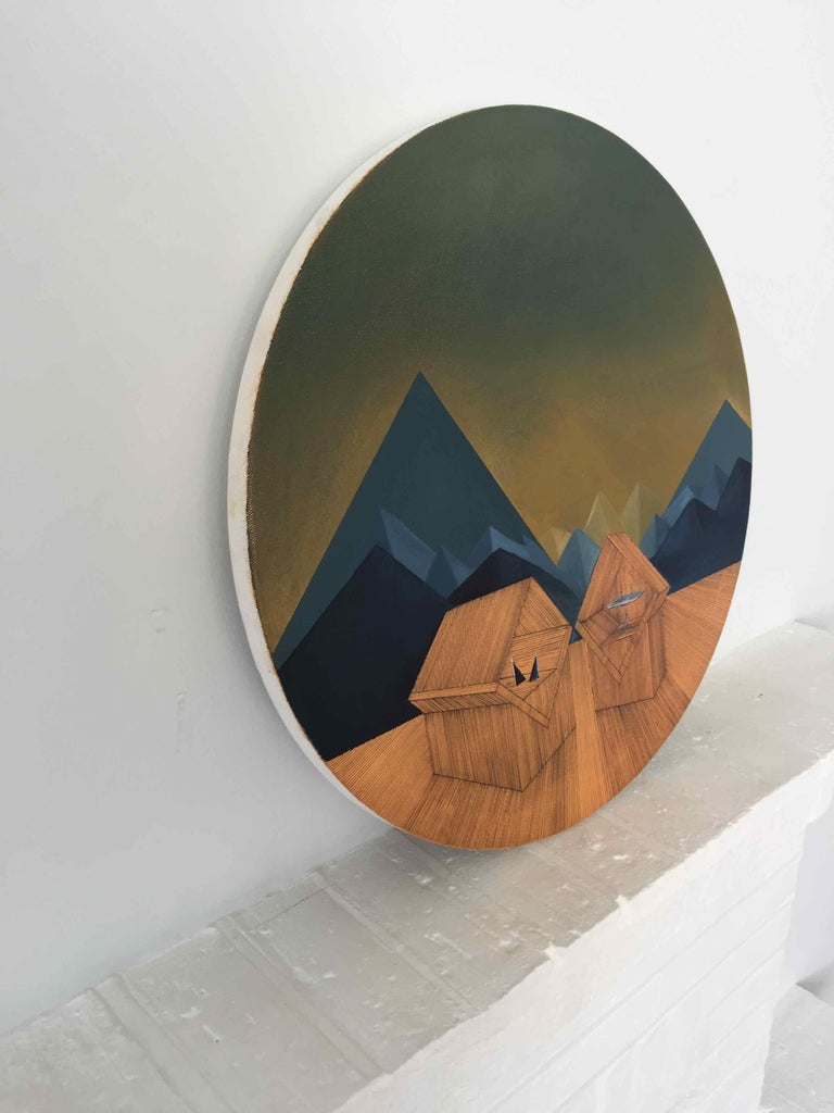 Imitation of Reality: Round Painting about Imaginary Spaces by Joella Wheatley For Sale 2