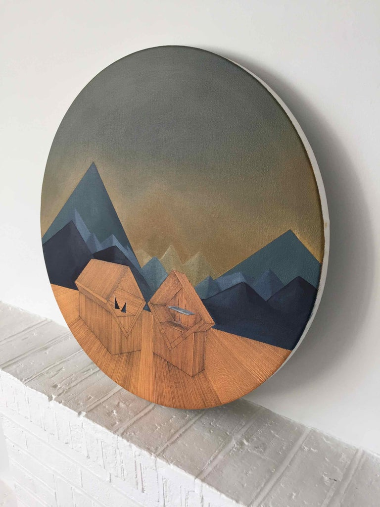 Imitation of Reality: Round Painting about Imaginary Spaces by Joella Wheatley For Sale 3