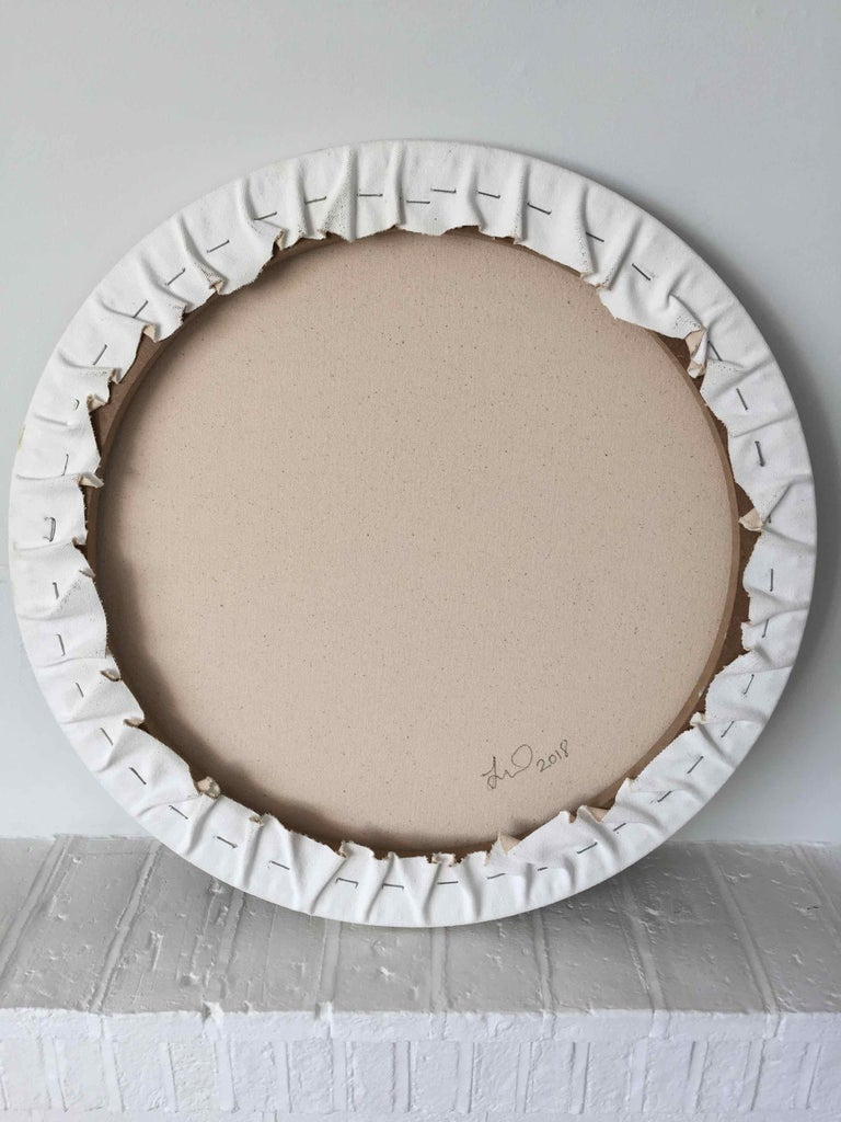 Imitation of Reality: Round Painting about Imaginary Spaces by Joella Wheatley For Sale 4