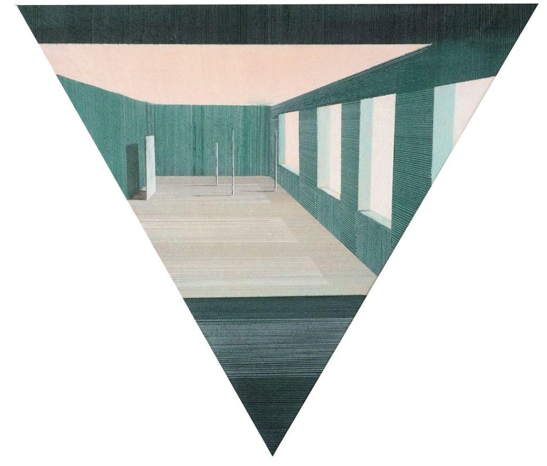 Intro by Joella Wheatley, 2016, Oil, acrylic and pen on canvas, stretched over board  This triangular-shaped drawing/painting sits flat on the wall and the viewer is invited to move in close to examine the fine perspective line drawing and shading,