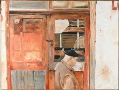 Large Colorado Modernist Oil Painting Wharf Street Plein Air New Orleans Street