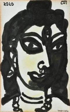 """Devi, Brush & Pastel on Paper by Modern Indian Artist """"In Stock"""""""