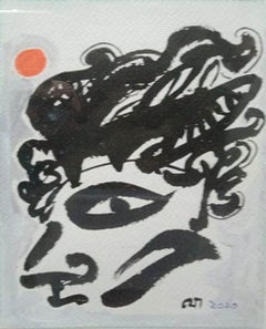 """Face, Black & White Ink & Pastel on Paper by Modern Indian Artist """"In Stock"""""""