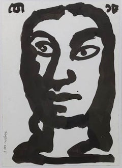 """Face, Black & White Ink with Brush on Paper by Modern Indian Artist """"In Stock"""""""