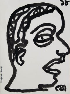 "Face, Drawing, Ink on Paper by Modern Indian Artist ""In Stock"""