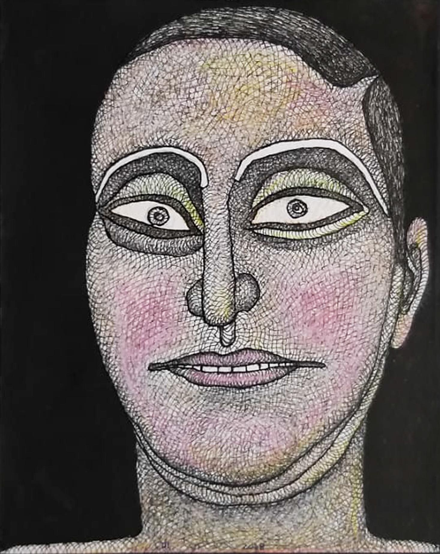 """Face, Man, Ink, Watercolor, Pastel on paper, Pink,Brown, Indian Artist""""In Stock"""""""