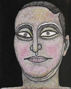 "Face, Man, Ink, Watercolor, Pastel on paper, Pink,Brown, Indian Artist""In Stock"""