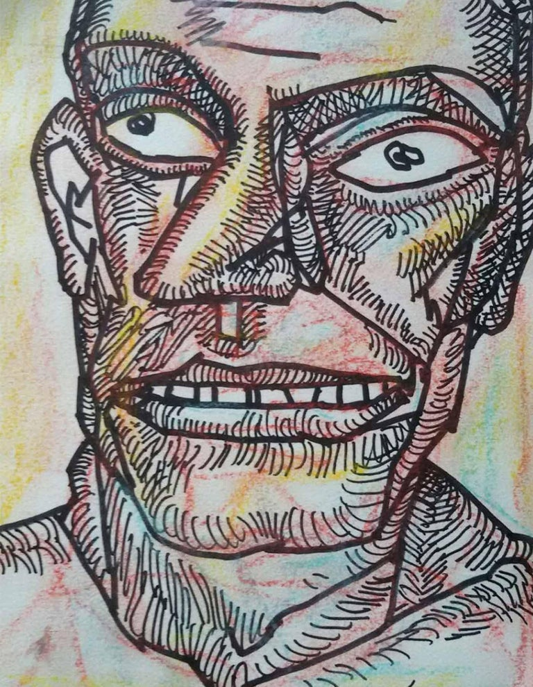 Jogen Chowdhury - Face of a Man - 10 x 7.5 inches (unframed size)   Ink & Pastel on Paper Inclusive of shipment in roll form.   Style : He has immense contribution in inspiring young artists of India. Jogen Chowdhury had developed his individual