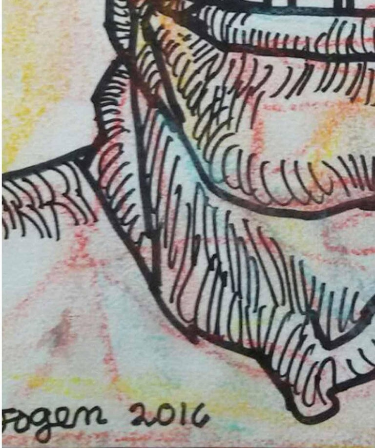 Face of a Man, Ink & Pastel on paper, Pink, Brown by Indian Artist