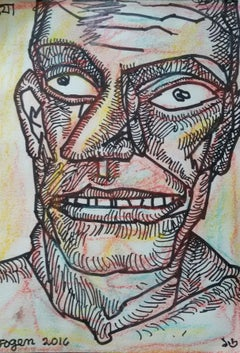 "Face of a Man, Ink & Pastel on paper, Pink, Brown by Indian Artist ""In Stock"""