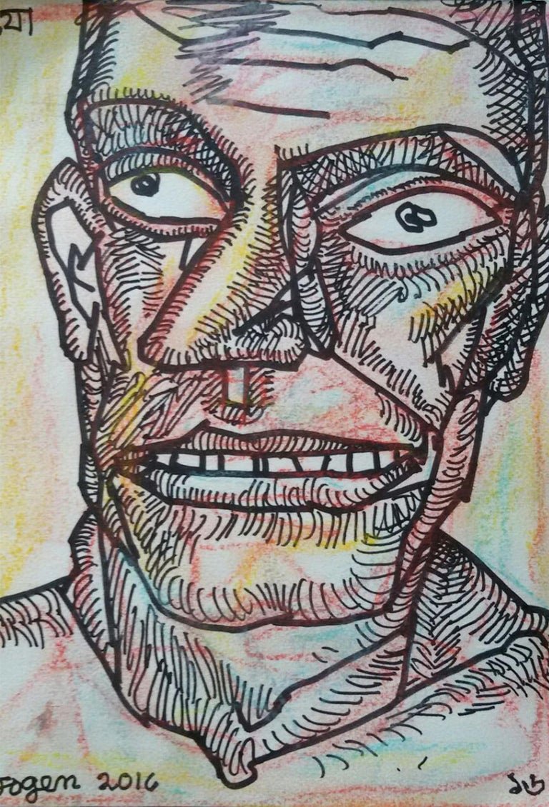 """Jogen Chowdhury  Figurative Painting - Face of a Man, Ink & Pastel on paper, Pink, Brown by Indian Artist """"In Stock"""""""