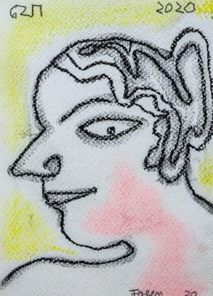 "Face, Woman, Dry Pastel on Paper, Yellow, Pink by Modern Indian Artist""In Stock"""