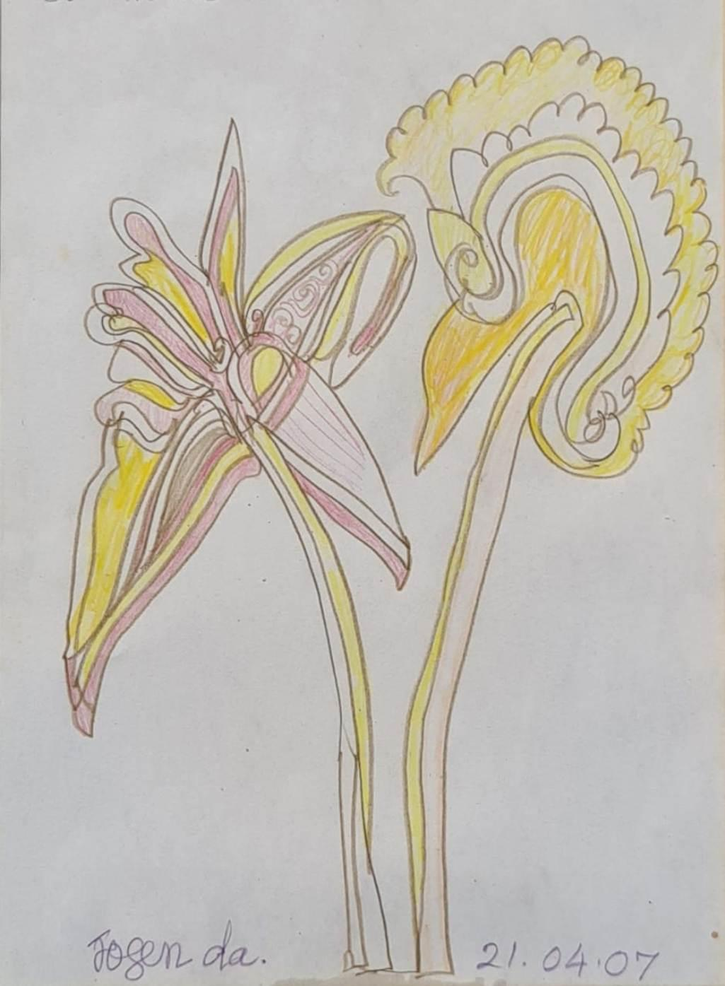 """Untitled, Pastel & Ink on Paper by Modern Indian Artist """"In Stock"""""""