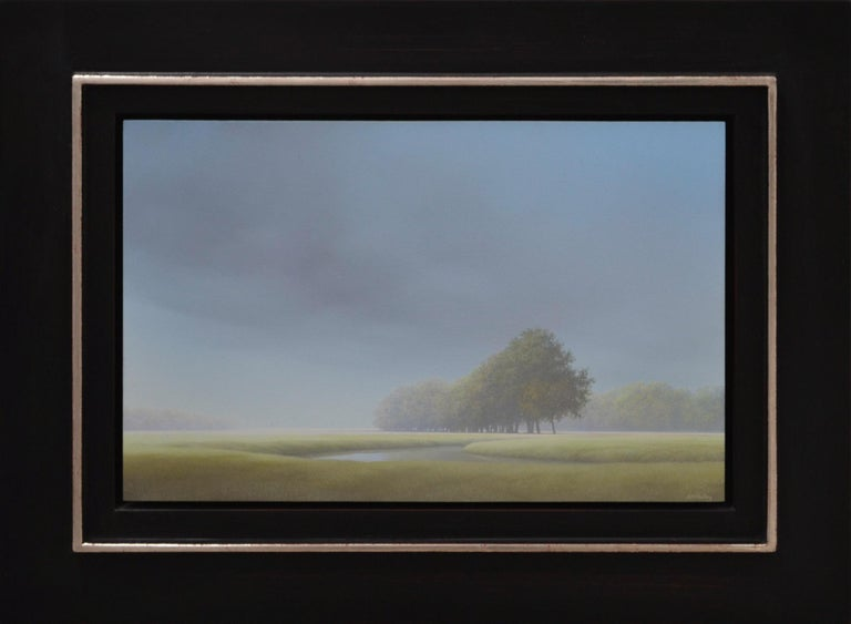 The work of artist Johan Abeling stands out because of the mysterious ambiance it has. The complete abandoning in his paintings creates an unreal ambiance. He paints in preference the expansive Northern-Dutch landscape in which he places displaced