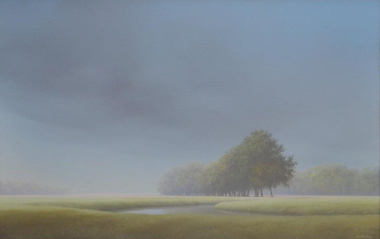 """Landscape"" Johan Abeling 21st Century Contemporary Oil Painting Sfumato - Gray Figurative Painting by Johan Abeling"