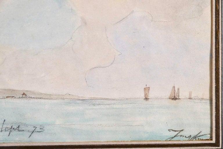 Marseille - Coastal Landscape Impressionist Watercolor - Johan Barthold Jongkind For Sale 2