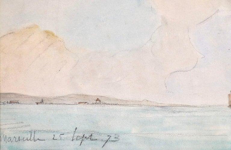 Marseille - Coastal Landscape Impressionist Watercolor - Johan Barthold Jongkind For Sale 3
