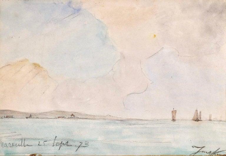 Marseille - Coastal Landscape Impressionist Watercolor - Johan Barthold Jongkind - Painting by Johan Barthold Jongkind