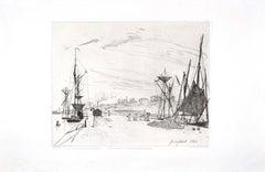 Vue du Port au Chemin de Fer à Honfleur - Original Etching by J.B. Jongkind