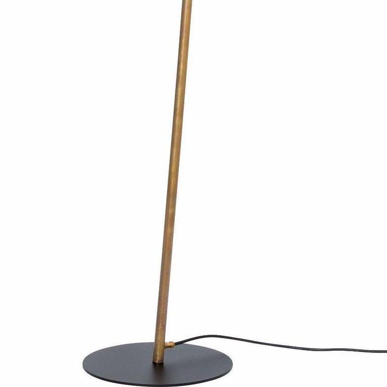Scandinavian Modern Johan Carpner Grenverk Black Raw Brass Floor Lamp by Konsthantverk For Sale