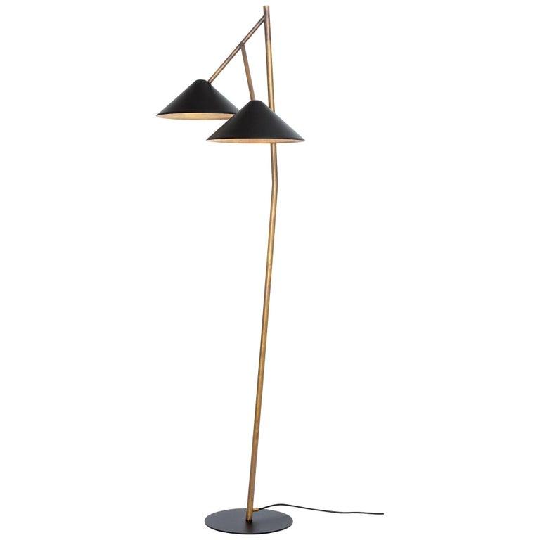 Johan Carpner Grenverk Black Raw Brass Floor Lamp by Konsthantverk For Sale