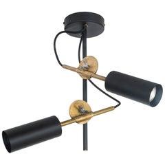 Johan Carpner Stav Spot 2 Black Brass Ceiling Lamp by Konsthantverk