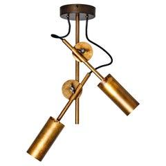 Johan Carpner Stav Spot 2 Raw Brass Ceiling Lamp by Konsthantverk