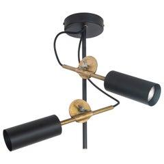 Johan Carpner Stav Spot Black Brass Ceiling Lamp by Konsthantverk Tyringe