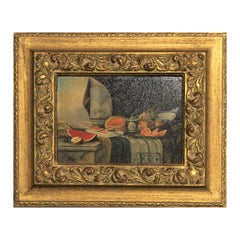 Early 20th Century Realist Still Life Interior Painting with Fruits and Drapery