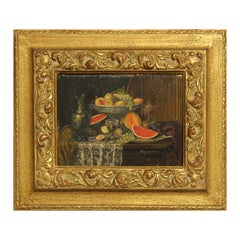 Early 20th Century Realist Still Life Interior Painting with Vase and Fruits