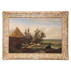 "Johan Leemputten Antique Landscape Oil Painting ""Countryside Fowl"", circa 1868"