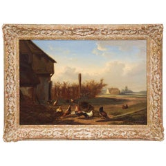 Johan Leemputten, Landscape Oil Painting of Farmyard Fowl, Belgium, circa 1868