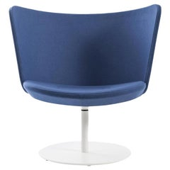 Johan Lindstèn Embroidery Simple Armchair in Blue Hero Fabric for Cappellini