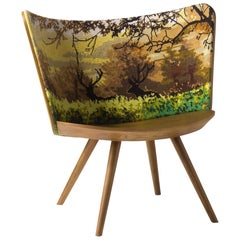 Johan Lindstèn Autumn Embroidery Armchair in Solid Ash and Foam for Cappellini
