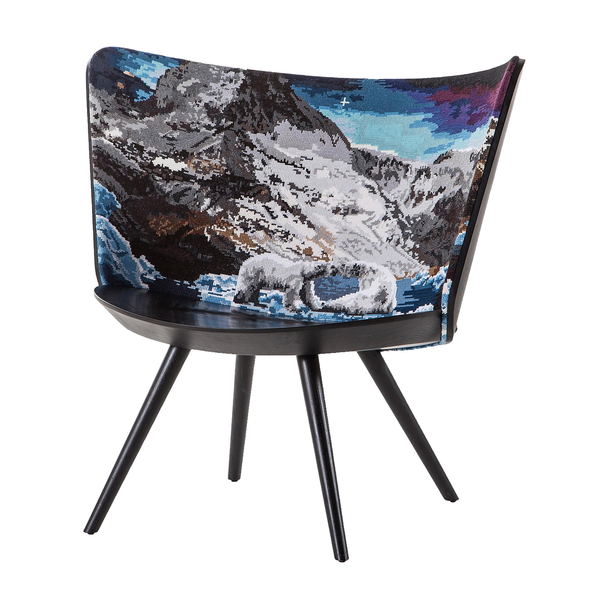 Johan Lindstèn Winter Embroidery Armchair in Solid Ash and Foam for Cappellini