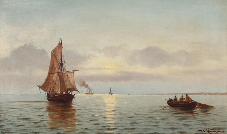 "Johan Neumann: ""I Sundet. Måneopgang i August"". Moonlight view of the sound in August. Signed Joh. Neumann. Oil on canvas. Measures: 31.5 × 53 cm."