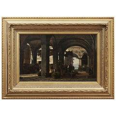 Johan Peter Kornbeck Painting, Marketplace at Lake Garda, Italy