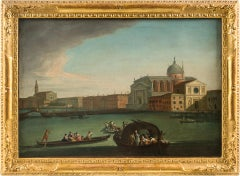 18th century Italian landscape figure painting - View of Venice - Oil on canvas