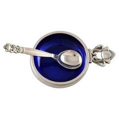 """Johan Rohde, Georg Jensen, """"Acorn"""" Salt Cellar, Sterling Silver with Blue Enamel"""