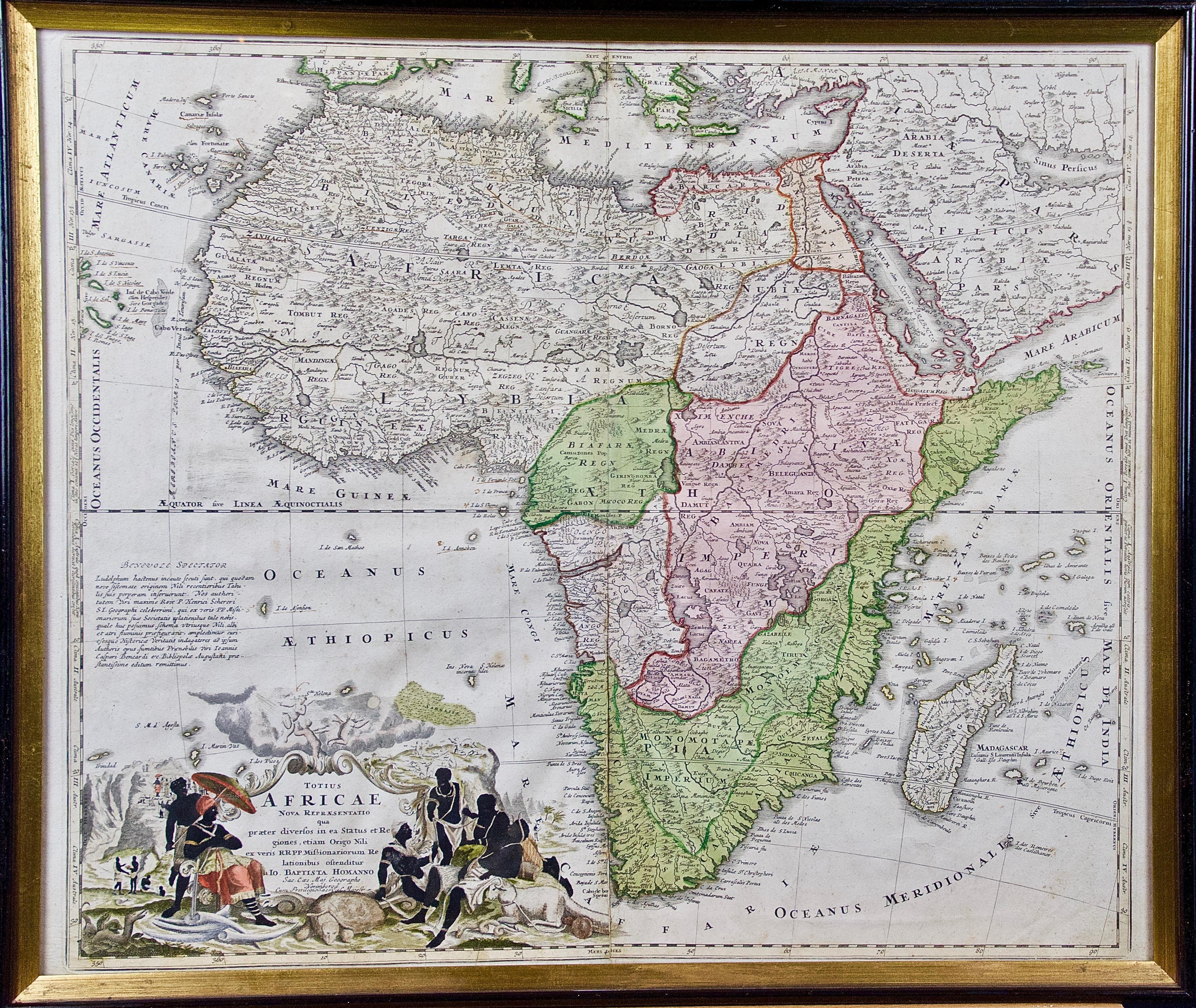 """18th Century Hand Colored Homann Africa Map """"Totius Africae Nova Representatio"""""""