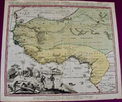 """18th Century Hand-colored Homann Map of West Africa Entitled """"Guinea Propria"""""""