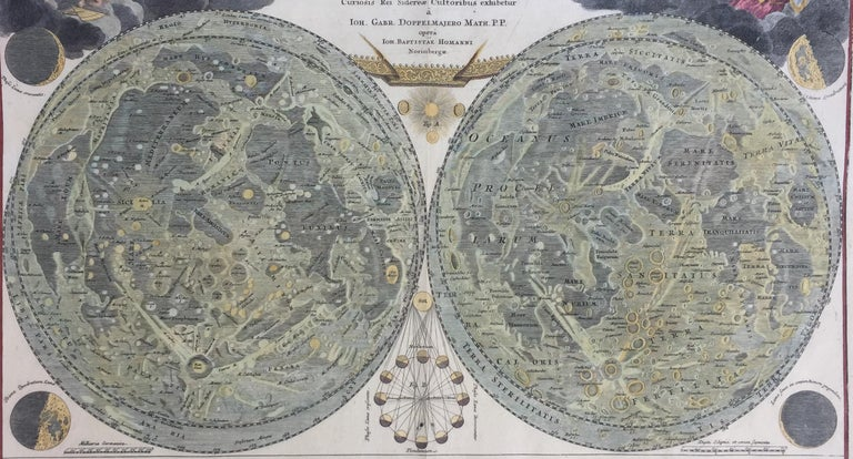 EARLY MAP OF THE MOON - Foundation map - Old Masters Print by Johann Baptist Homann