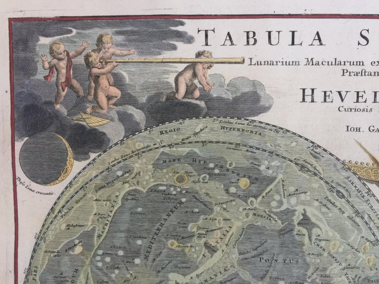 EARLY MAP OF THE MOON - Foundation map For Sale 1
