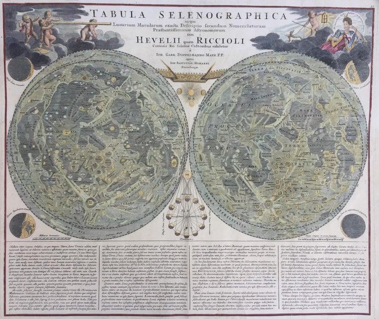 "JOHN BAPTISTE HOMANN (1663 – 1724)  (J. G.  Doppelmayr 1671 - 1750)            THE  MOON c. 1704           TABULA SELENOGRAPHICA IN QUA LUNARIUM MACULARUM EXACTA DESCRIPTO ..…..                  Nurnberg 1704-42. Engraving, 19 ½' x 22 ½"". Sheet 21"