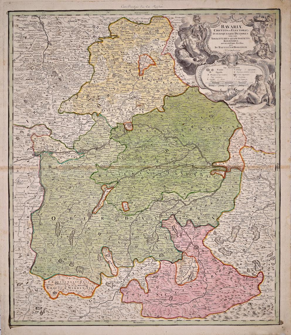 Hand Colored 18th C. Homann Map of Bavaria & Portions of Austria and Switzerland
