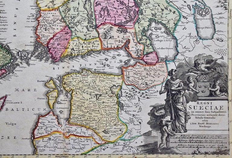 Hand-colored 18th C. Homann Map of Sweden and Adjacent Portions of Scandinavia  - Print by Johann Baptist Homann