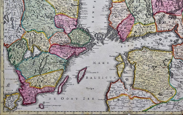 Hand-colored 18th C. Homann Map of Sweden and Adjacent Portions of Scandinavia  - Old Masters Print by Johann Baptist Homann