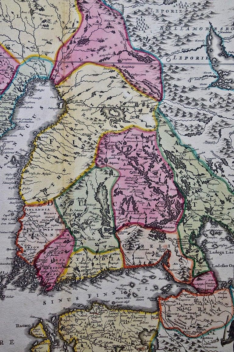 Hand-colored 18th C. Homann Map of Sweden and Adjacent Portions of Scandinavia  - Gray Landscape Print by Johann Baptist Homann